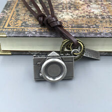 HOT Men's Retro Metal Camera Pendant Genuine Leather Surfer Choker Necklace