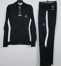 NIKE AIR JORDAN DRI-FIT WARM UP SUIT JACKET + PANTS BLACK WHITE NWT (SIZE LARGE)