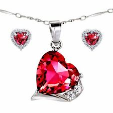 "Created Red Ruby Pendant Necklace Earring Set 925 Sterling Silver with 18"" Chain"