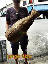 VINTAGE BAMBOO WICKER FISHING BASKET EEL FISH TRAP HANDMADE TRIBAL DECORATE HOME
