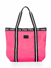 New with Tags Victorias Secret PINK Logo Zip-Top Tote Neon Hot Pink Beach Bag
