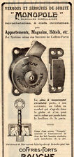 MONOPOLE SERRURE VERROU COFFRE FORT BAUCHE SAFE PARIS PUBLICITE 1929 FRENCH AD
