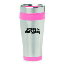 Stainless Steel Insulated 16oz Travel Mug Coffee Cup Crazy Cat Lady