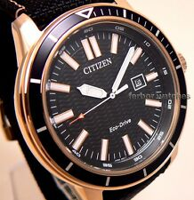 CITIZEN MEN ECO DRIVE ROSE GOLD FABRIC-LEATHER BAND DATE 100m AW1523-01E cg