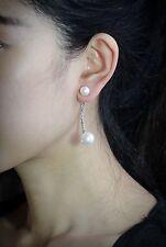 Boucles d`Oreilles Argenté Clous Art Deco Cristal Perle Double Arc Long P1