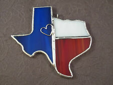 Texas State Stained Glass Red Ornament or Window Sun Catcher Handmade Signed