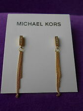 Michael Kors Authentic NWT Gold-Tone Clear Pave Chain Drop Earrings