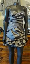 TEEZE ME Pewter Gray Sequence Studded Formal Strapless Bubble Dress - 3
