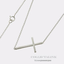 """Authentic Dogeared Silver Whispers Sideways Cross Necklace 18"""" T1SS200000200"""