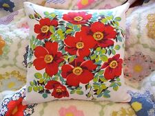 Vintage Wilendur Tablecloth Red Wildrose Roses Accent Throw Toss Pillow Cushion