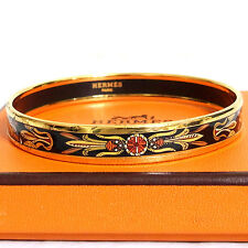 Auth Hermes Enamel Black/Goldtone Narrow Bracelet Bangle Made Austria Y in Box