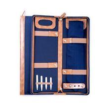 Men's Blue Ballistic Nylon Travel Necktie Tie Case Holder & 4 Collar Stays