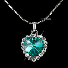 18k white gold genuine SWAROVSKI crystal love heart pendant necklace