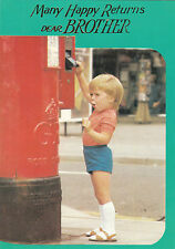 Vintage 1970's Happy Birthday Brother Greeting Card ~ Royal Mail Postbox
