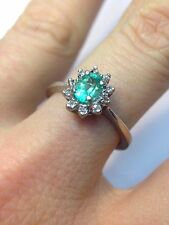 Natural 1/2CT Colombian Emerald Diamond Halo 14K White Gold Ring size 6