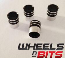 Negro y Plata A rayas Aluminio Tapón De La Válvula Adecuado Para Minicoches Vans