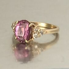14kt gold ring pink spinel & diamond yellow gold 3.1 band solitaire size 6, 585