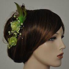 2 Stück Haarclip GRÜN Ansteckblume Blume Perlen Federn Strassstein grüne Blumen