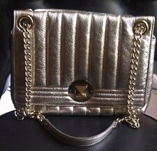 Authentic KATE SPADE METALLIC GOLD LEATHER CHAIN STRAP SHOULDER PURSE BAG - RARE
