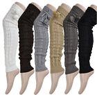 NEW SOLID Extra Long Leg Warmer Womens Fashion Crochet Knit Winter Legging Socks