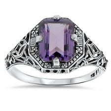 3 Ct LAB ALEXANDRITE ANTIQUE DESIGN .925 STERLING SILVER RING SIZE 6,  #88
