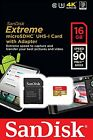 SanDisk Extreme 16GB 90MB/s microSD micro SDHC SD Class 10 UHS-1 U3 Card 4K