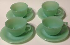 FIRE KING JADEITE SET 4 JANE RAY CUPS SAUCERS VINTAGE HOCKING RESTAURANT WEAR