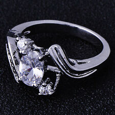 Free Shipping crystal Crystal 9K White Gold Filled Ladies Ring Size 5
