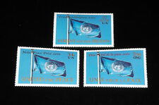 U.N. 2001, NOBEL PEACE PRIZE, SINGLES, ALL 3 OFFICES,MNH NICE! LQQK!