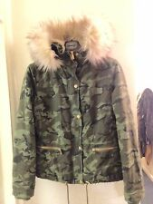 ASOS Green Camouflage Coat With Cream Faux Fur Hood, Size 14, Brand New