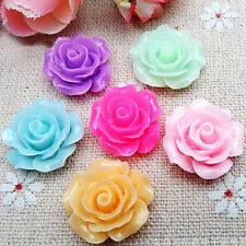 50pcs Mixed Resin Cabochon Rose Flower Flatback Retro Style Craft Decoration
