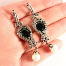 TULIP! Turkish Jewelry Handmade Emerald Topaz Pearl 925 Sterling Silver Earrings