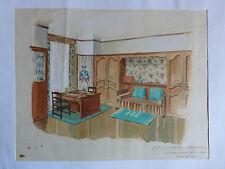Aquarelle architecture déco d'intérieur - Boudoir à décor militaire - C. 1930.