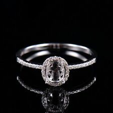 Natural Diamond Semi Mount Wedding Halo Ring Settings Oval 7x5 in 18K White Gold