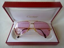 VINTAGE CARTIER SANTOS SCREWS 59MM ROSE SUNGLASSES DRAKE FRANCE 18K HEAVY PLATED