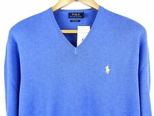 NEW MENS 100% GENUINE RALPH LAUREN V-NECK COTTON JUMPER BLUE XL RRP £110