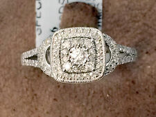 Double Halo Vintage Style White Gold Diamonds Engagement Flower ring split shank