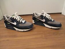 Used Worn Size 10 Nike Air Max 90 LX Shoes Gray Navy White Black Volt Lacrosse