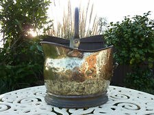 Antique Traditional Brass Helmet Coal Log Scuttle With Handle Dovetail Joint Old