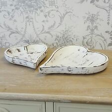 White Heart Wooden Tray Set Shabby Chic Vintage Style Kitchen Dressing Table