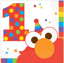 Sesame Street 1st Birthday Party Supplies BEVERAGE NAPKINS Pack Of 16