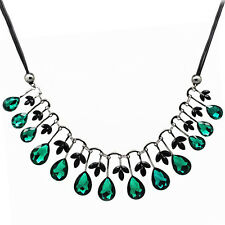 Luxury Vintage Style Emerald Green Floating Teardrops Choker Long Necklace N346