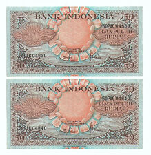 Indonesia 50rp Banknote AU 1959 2pcs Running Number