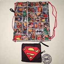 "DC COMICS JUSTICE LEAGUE TOTE BAG ""NWT"" BATMAN SUPERMAN CARRY POUCH BACKPACK"