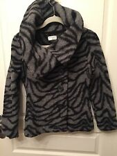 Kaliko black grey zebra wool Jacket coat cardigan UK 8 US 4  As New