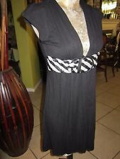 URBAN BEHAVIOR! NICE! Black Dress Size M Empire Belt Attached In Front V-Neck St