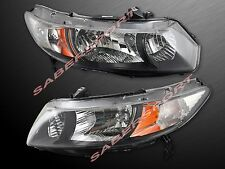 Pair Eagle Eyes Black Housing Headlights for 2006-2011 Honda Civic 2DR Coupe