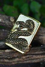 Zippo Lighter -  Coiled Snake - Python - Genuine Swarovski Crystal - # GD 2429