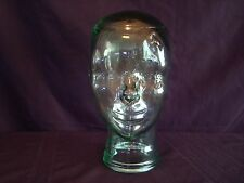 Vintage Mid Modern Retro GREEN Tint Glass Head Face Mannequin Display Hat Wig