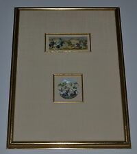 Antique Persian Arabian Polo Players Hand Painted VERY RARE 2 Pieces Shadowbox